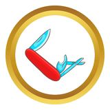 Red pocket knife with lots of tools vector icon Stock Image
