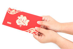 Red pocket and lucky money on chinese new year Royalty Free Stock Photo