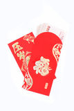 Red pocket and lucky money on chinese new year Royalty Free Stock Images