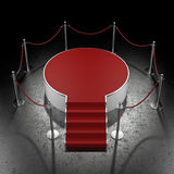 Red podium in dark gallery Royalty Free Stock Photo
