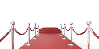 Red podium on red carpet VIP way chrome silver fence on white gray background Stock Photography