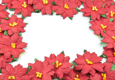 Red poinsettia Christmas frame Royalty Free Stock Images
