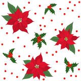 Red poinsettia flowers and holly berry Christmas seamless pattern Stock Images
