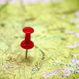 Red point on the map Stock Photography
