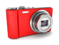 Red point and shoot photo camera isolated on white Stock Images
