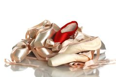 Red pointe and pink pointe Stock Photo