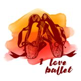 Red Pointe shoes. Abstract watercolor background. Ballet poster series easy to use. Vector Stock Images