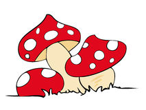 Red poison mushrooms. Illustration of a group of red poison mushrooms Royalty Free Stock Photos