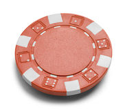 Red Poker Chip. With Copy Space Isolated on a White Background Stock Image