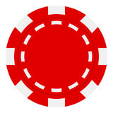 Red Poker Chip Flat Icon Isolated on White. Red poker chip flat icon, isolated on white background. Eps file available royalty free illustration