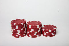 Red poker chip stacks Royalty Free Stock Images