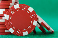 Red poker chips Royalty Free Stock Photography