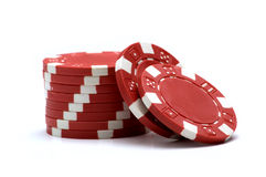 Red Poker Chips. On white background Royalty Free Stock Image