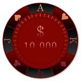 RED POKER CHIPS 10000$ CASINO`. RED POKER CHIPS 10000$  DOLLARS  -  clubs diamonds, hearts, spades, TEXAS DOLD`EM POKER Royalty Free Stock Photo