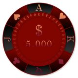 RED POKER CHIPS 5000$ CASINO`. RED POKER CHIPS 5000$  DOLLARS  -  clubs diamonds, hearts, spades, TEXAS DOLD`EM POKER Stock Image