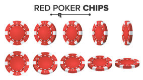 Red Poker Chips Vector. 3D Realistic Set. Plastic Poker Chips Sign  On White Background. Flip Different Angles Stock Photos