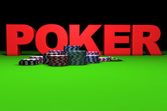 Red Poker Sign. 3d rendering of red poker sign and colored chips on a green table. Great background for magazines, banners, webpages, flyers, etc Stock Images