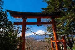 Red pole in path way up to Chureito pagoda fuji mountain viewpoi Stock Photos