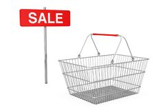 Red Pole Sale Sign near Wire Shopping Basket. 3d Rendering. Red Pole Sale Sign near Wire Shopping Basket on a white background. 3d Rendering Stock Image