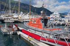 Red police boat tied at the harbor in Monaco. Stock Photography