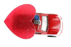 Red police car in Valentines day Royalty Free Stock Photo