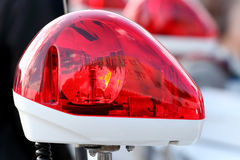 Red police light. Closeup of red police light, police siren Royalty Free Stock Images