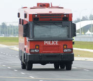 Red police truck stock photos