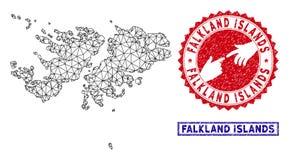 Red poligonal Falkland Islands Map y sellos del Grunge stock de ilustración