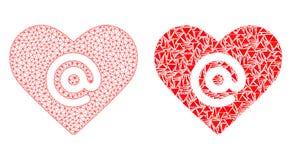 Red poligonal Mesh Dating Heart Address e icono del mosaico libre illustration