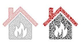 Red poligonal Mesh Kitchen Building e icono del mosaico stock de ilustración