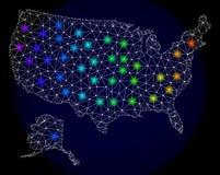 Red poligonal Mesh Map de los E.E.U.U. con Alaska con los puntos ligeros coloridos stock de ilustración