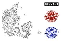 Red poligonal Mesh Vector Map de los sellos del Grunge de Dinamarca y de la red stock de ilustración