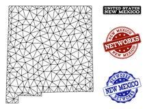 Red poligonal Mesh Vector Map de los sellos del Grunge del estado y de la red de New México ilustración del vector