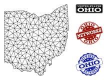 Red poligonal Mesh Vector Map de los sellos del Grunge del estado y de la red de Ohio ilustración del vector