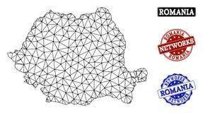 Red poligonal Mesh Vector Map de los sellos del Grunge de Rumania y de la red stock de ilustración