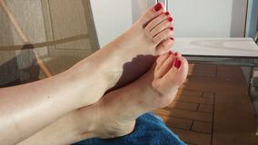 Red polish toes  6 Stock Photos