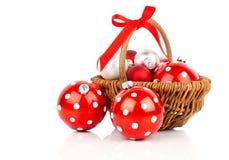 Red polka dot Christmas bauble Royalty Free Stock Image