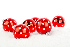 Red polka dot Christmas bauble Royalty Free Stock Photos