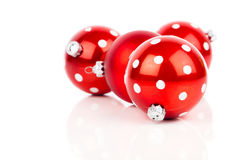 Red polka dot Christmas bauble Stock Photography