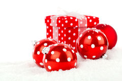 Red polka dot Christmas bauble Royalty Free Stock Photo