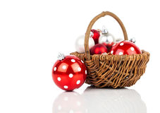 Red polka dot Christmas bauble Royalty Free Stock Images