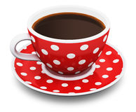 Red polka dot coffee cup Stock Photography