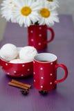 Red polka dot cup of tea Stock Photos