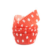 Red polka dot cupcake cup isolated Stock Image
