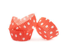 Red polka dot cupcake cup isolated Stock Photography