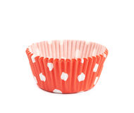 Red polka dot cupcake cup isolated Stock Photos