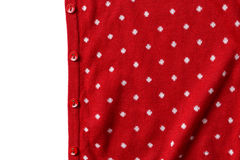 Red polka dot knit sweater with button Royalty Free Stock Photos