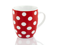 Red Polka Dot Mug Isolated on White Royalty Free Stock Photos