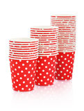 Red polka dot paper cups Stock Photos