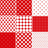 Red polka dot seamless patterns Royalty Free Stock Images
